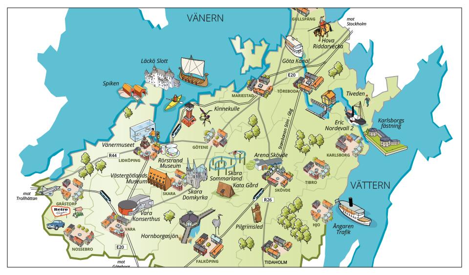 Kartbild över Skaraborg