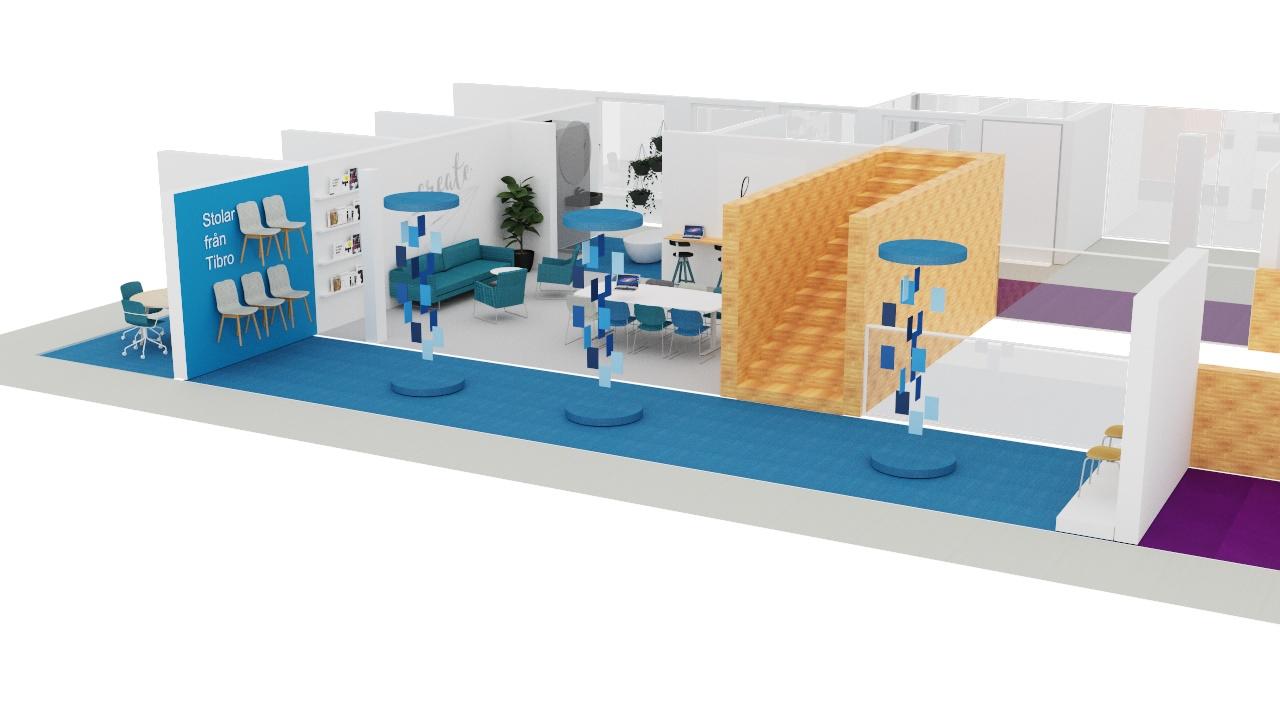 Ideskiss över hur Tibroföretagen skulle kunna presenteras på Inredia